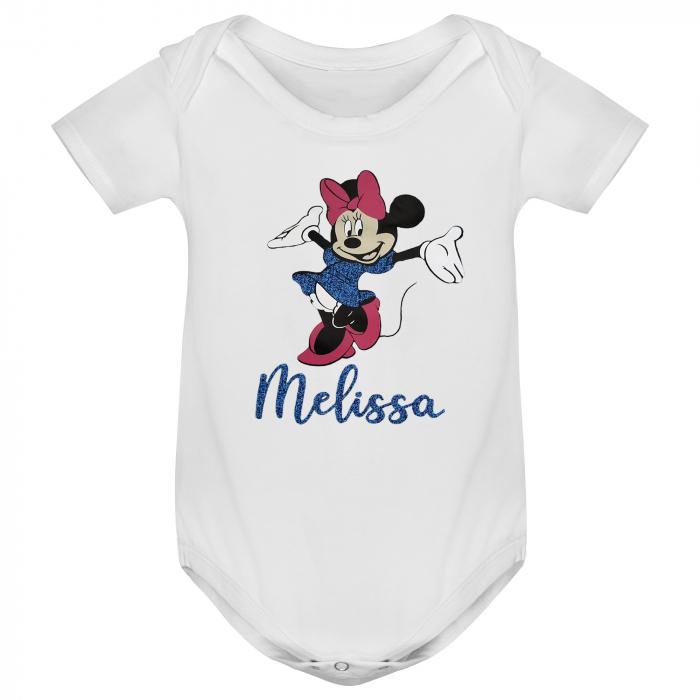 Body bebe personalizat din bumbac, cu Minnie cu rochita si nume [0]