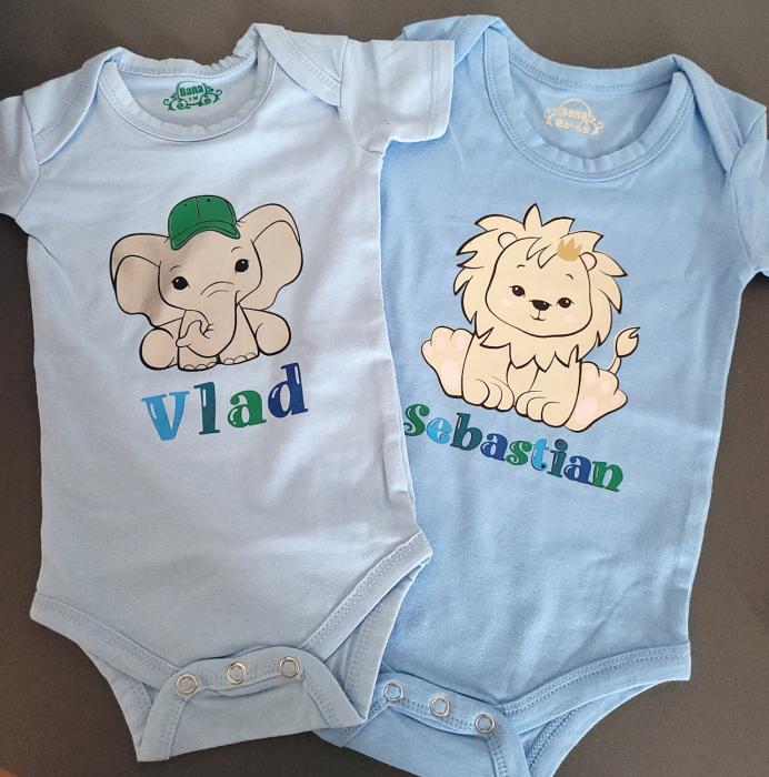 Body bebe personalizat din bumbac, pentru baietel, cu nume si elefant [2]