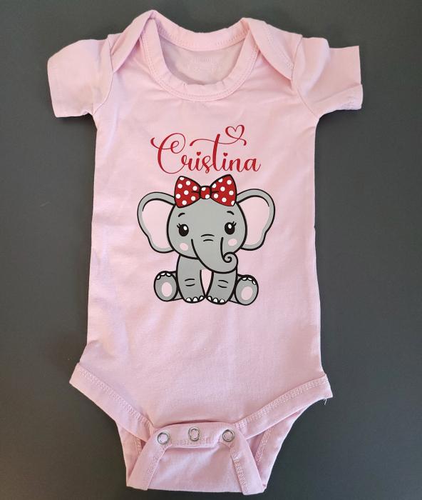 Body bebe personalizat din bumbac, pentru fetita cu elefantel si nume [1]