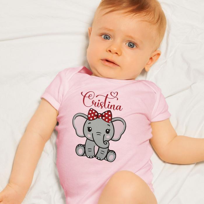 Body bebe personalizat din bumbac, pentru fetita cu elefantel si nume [0]