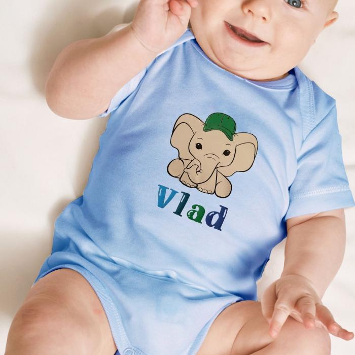 Body bebe personalizat din bumbac, pentru baietel, cu nume si elefant [0]
