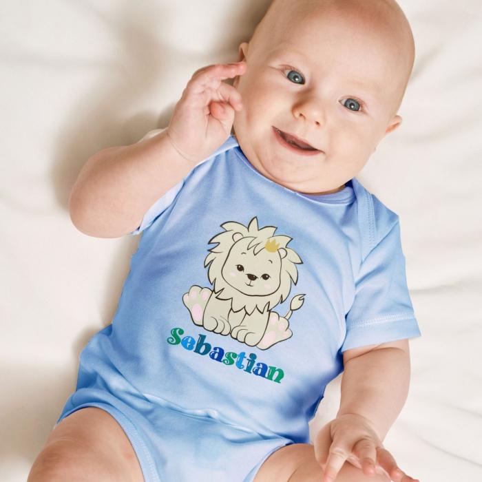 Body bebe personalizat din bumbac, pentru baietel, cu nume si leu [0]