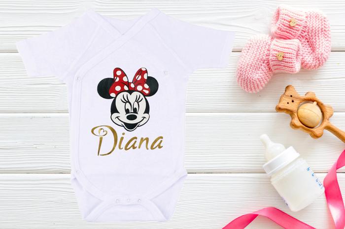Body bebe personalizat din bumbac, pentru fetita cu nume si Minnie, cadou pentru nou nascuti [1]