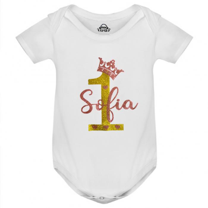 Body bebe personalizat din bumbac, cu design stralucitor, coronita si numele fetitei [1]