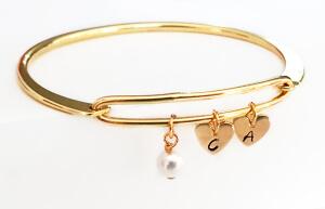 Bratara bangle placata cu aur, fixa, personalizata, cu 2 inimioare gravate cu o initiala si perla Swarovski [3]