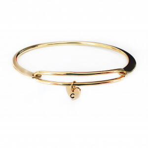 Bratara bangle placata cu aur, fixa, personalizata, cu inimioara gravata cu o initiala [1]