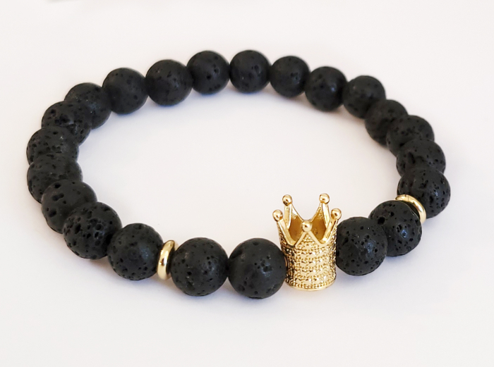 Bratara King Crown, cu lava, pietre semipretioase pentru barbati [3]