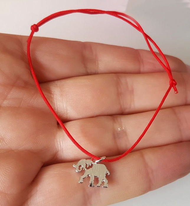 Bratara magica cu charm elefant placat cu aur, bratara norocoasa, cu snur ajustabil [1]