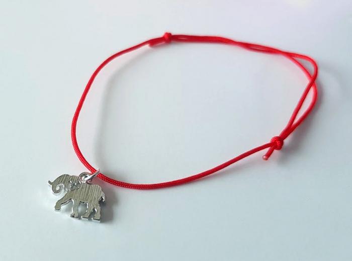Bratara magica cu charm elefant placat cu aur, bratara norocoasa, cu snur ajustabil [3]