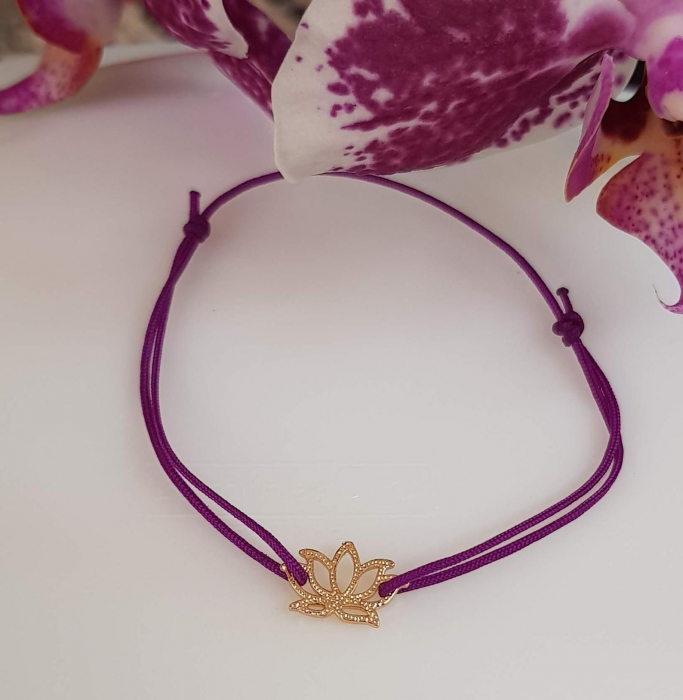 Bratara magica cu charm lotus, placata cu aur, bratara norocoasa, cu snur ajustabil [4]
