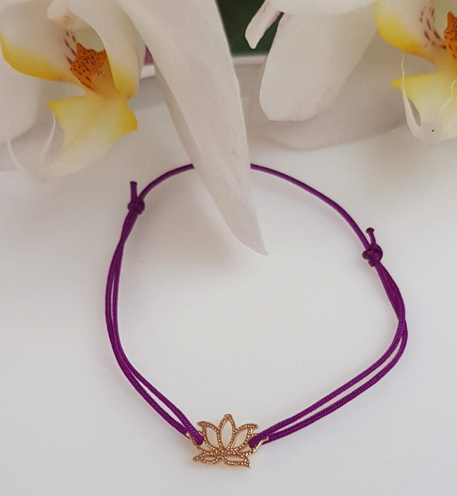 Bratara magica cu charm lotus, placata cu aur, bratara norocoasa, cu snur ajustabil [3]