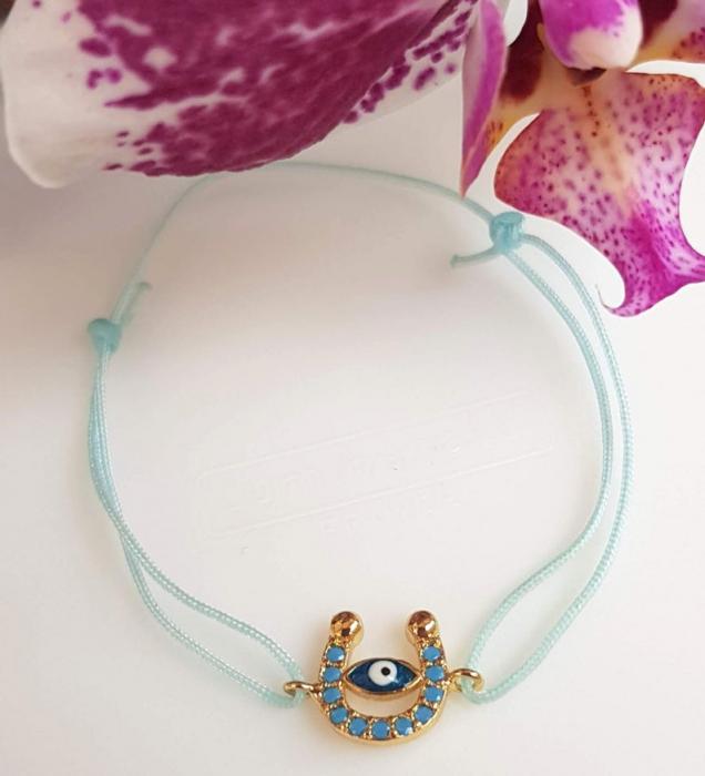 Bratara potcoava cu ochi protector, placata cu aur, decorata cu cristale Cubic Zirconia, culoare turcoaz, cu snur ajustabil [3]