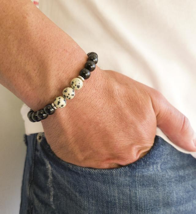 Bratara onix si jasp dalmatian, din pietre semipretioase, ajustabila pentru barbati [0]