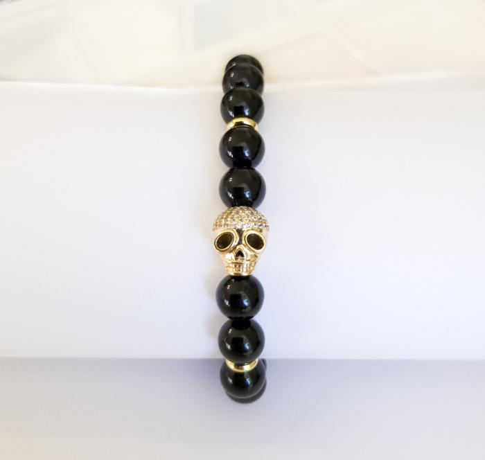 Bratara Skull cu Onix pietre semipretioase, ajustabila pentru barbati [6]