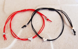 Bratara personalizat cu inimioara placata cu platina, cu snur ajutabil, potrivita pentru cupluri sau BFF [5]