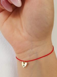 Bratara personalizata, cu initiala gravata pe inimioara placata cu platina, cu snur ajustabil [3]