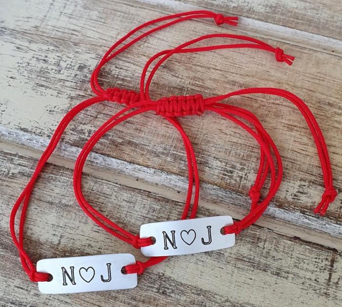 Bratara personalizata cu initiale si inimioara, cu snur ajustabil [4]