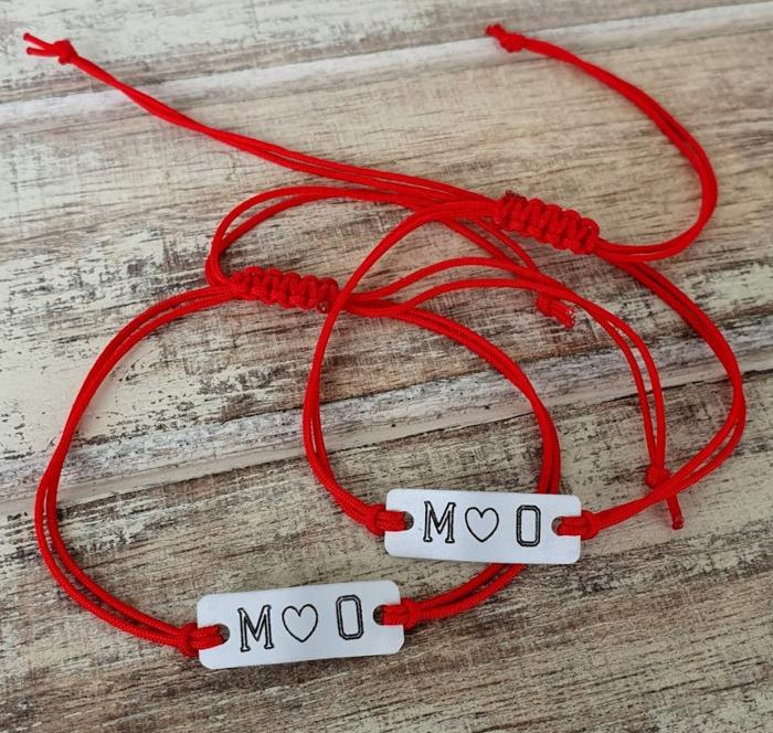 Bratara personalizata cu initiale si inimioara, cu snur ajustabil [5]