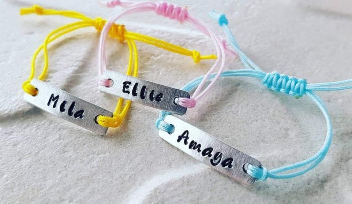 Bratara personalizata pentru copii si bebelusi, gravata cu nume, cu snur ajustabil [9]
