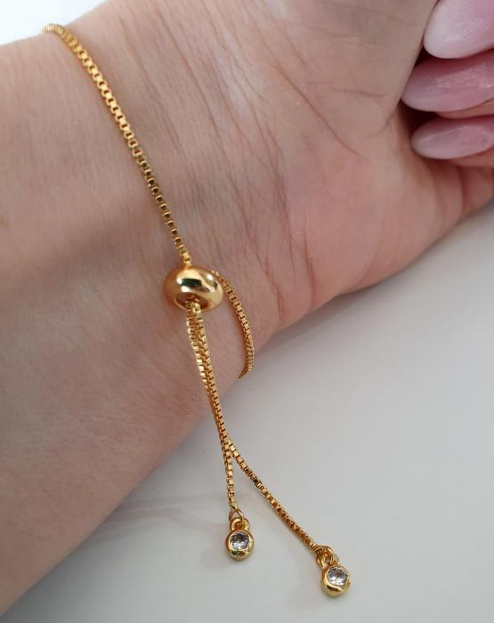 Bratara personalizata, placata cu aur, gravata cu nume pe banut, cu inchidere reglabila [2]