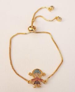 Bratara placata cu aur, cu fetita sau baiat, cu cristale Cubic Zirconia, cu inchidere speciala, ajustabila [3]