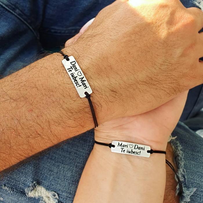 Bratari personalizate pentru cuplu cu nume si te iubesc, gravate pe placuta din aluminiu, ajustabile [0]