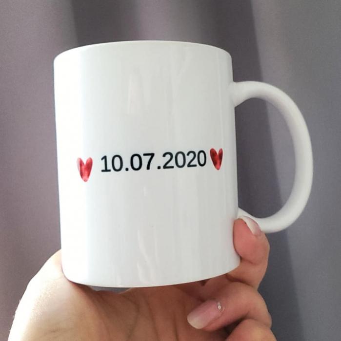 Cana personalizata cu fotografie inimiora si data relatiei, pentru cuplu [1]