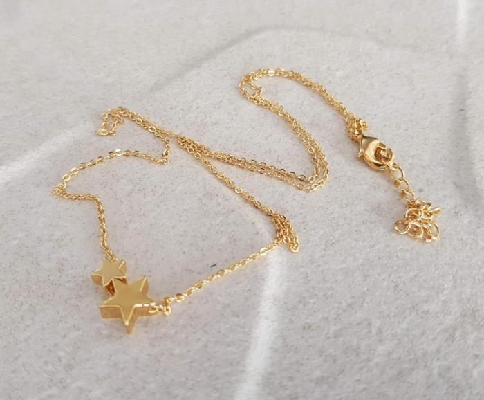 Colier cu doua stelute, placat cu aur, colier minimalist [4]