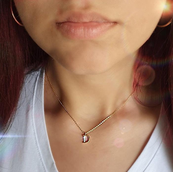 Colier cu initiala, placate cu aur, cu cristale Cubic Zirconia [5]