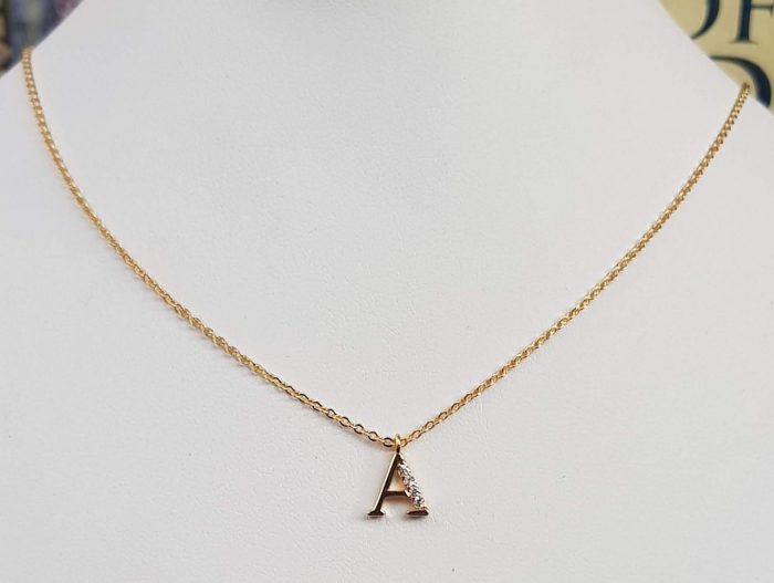 Colier cu initiala, placate cu aur, cu cristale Cubic Zirconia [8]
