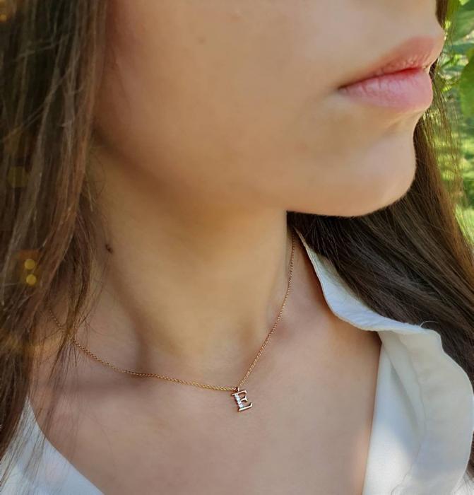 Colier cu initiala, placate cu aur, cu cristale Cubic Zirconia [0]
