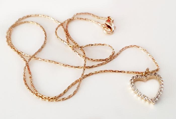 Colier inimioara cu cristale Cubic Zirconia, placat cu aur [1]
