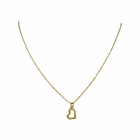 Colier minimalist, cu inimioara abstracta, cu cristale Cubic Zirconia placat cu aur [1]