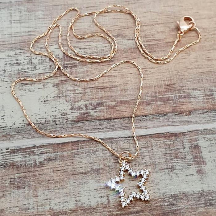 Colier minimalist, cu steluta cu cristale Cubic Zirconia, placat cu aur [3]
