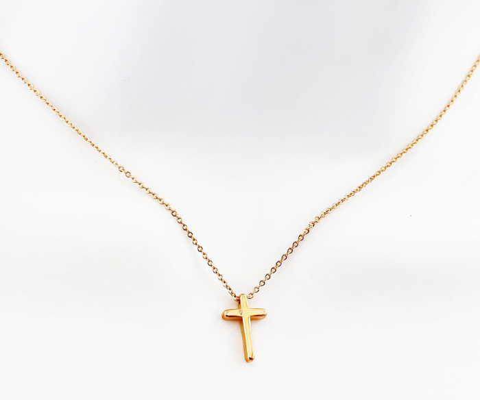 Colier minimalist, placat cu aur, cu cruciulita [0]