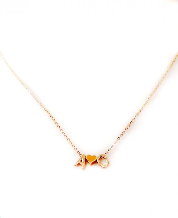 Colier personalizat cu doua initiale si inimioara, placat cu aur [3]
