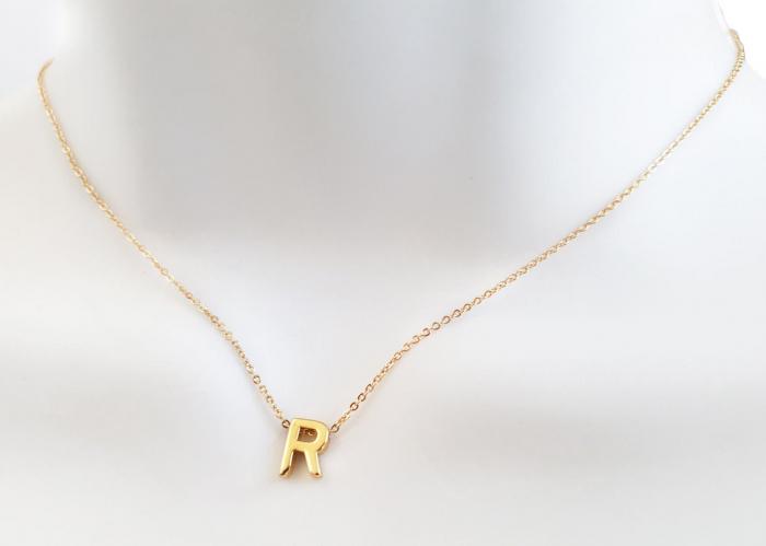 Colier personalizat cu initiala, placat cu aur [7]