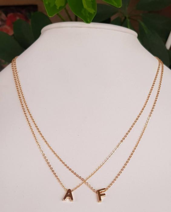 Colier personalizat cu initiala, placat cu aur [4]