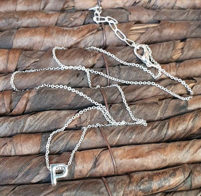 Colier personalizat cu pandant initiala numelui, placat cu argint [3]