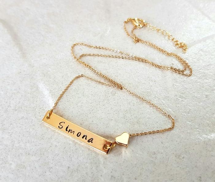 Colier placat cu aur, cu pandant dreptunghiular, personalizat cu nume si inimioara [2]