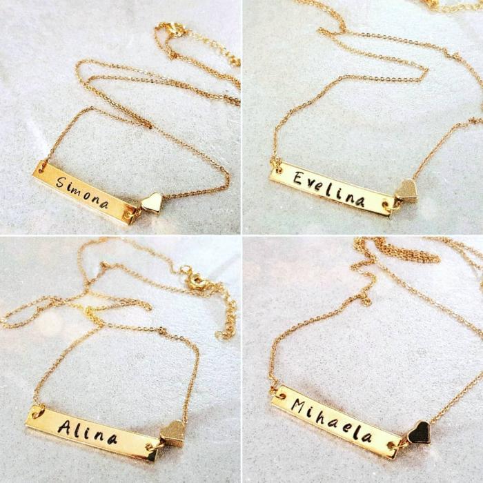 Colier placat cu aur, cu pandant dreptunghiular, personalizat cu nume si inimioara [4]