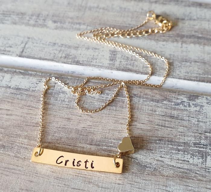 Colier placat cu aur, cu pandant dreptunghiular, personalizat cu nume si inimioara [3]
