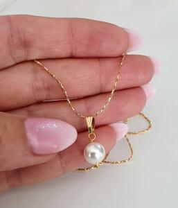 Colier placat cu aur, cu pandant perluta shell pearl alba [2]