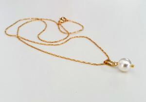 Colier placat cu aur, cu pandant perluta shell pearl alba [3]