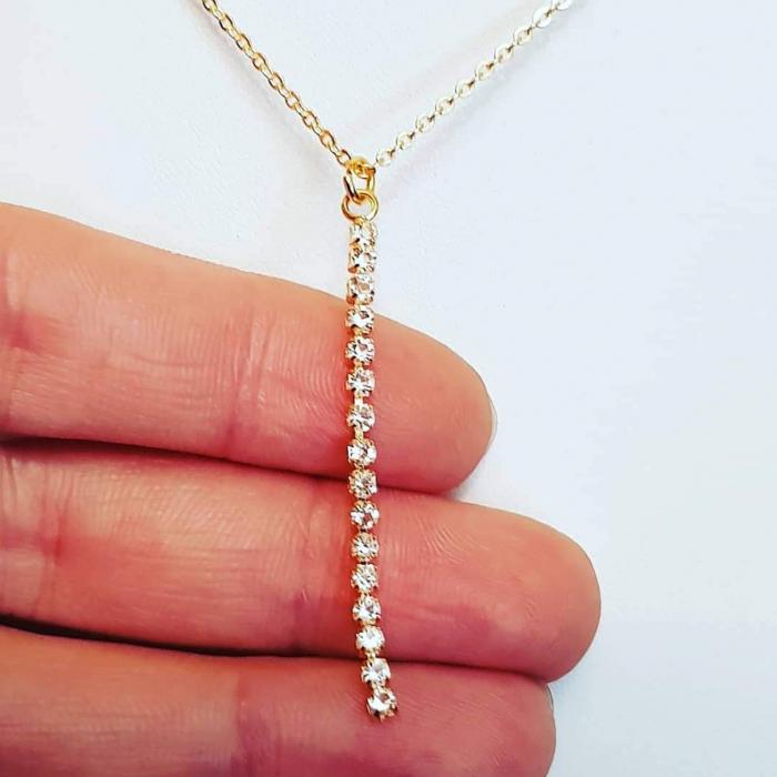 Colier placat cu aur, minimalist si stralucitor, cu pandant cu cristale Cubic Zirconia [2]