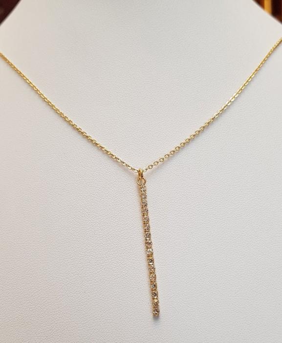 Colier placat cu aur, minimalist si stralucitor, cu pandant cu cristale Cubic Zirconia [4]