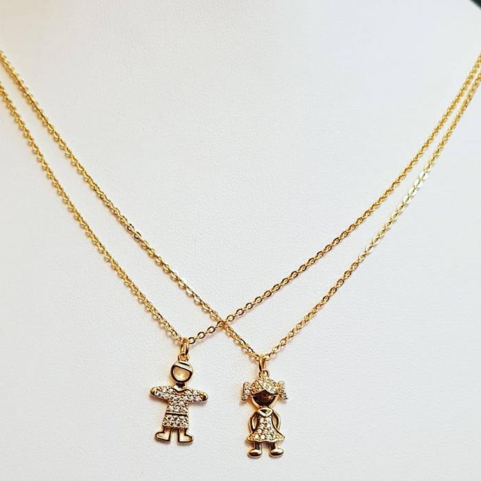 Colier placat cu aur, minimalist si stralucitor, cu pandant fetita sau pandant baietel, cu cristale Cubic Zirconia [7]