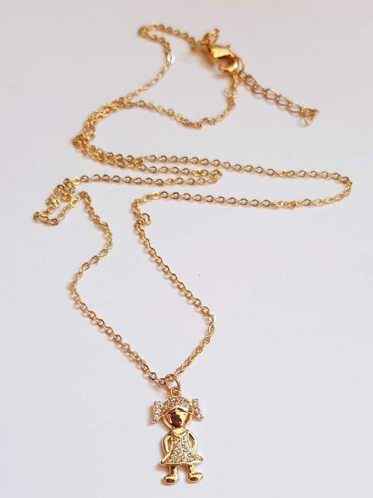 Colier placat cu aur, minimalist si stralucitor, cu pandant fetita sau pandant baietel, cu cristale Cubic Zirconia [6]