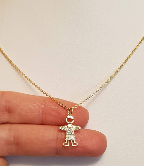 Colier placat cu aur, minimalist si stralucitor, cu pandant fetita sau pandant baietel, cu cristale Cubic Zirconia [1]