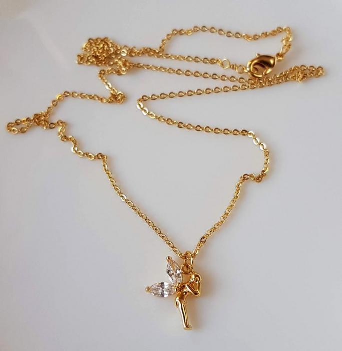 Colier stralucitor cu pandant zana, placat cu aur, cu cristale Cubic Zirconia [4]